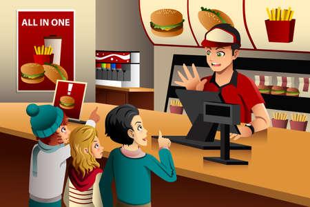 Illustration of kids ordering food at a fast food restaurant