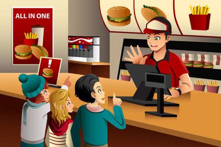 food: Illustration of kids ordering food at a fast food restaurant