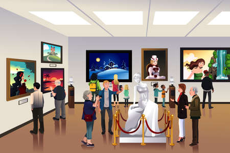 A vector illustration of people inside a museum