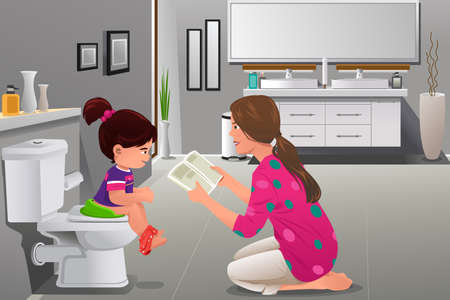 A vector illustration of girl doing potty training with her mother watching Ilustração
