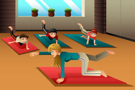 A vector illustration of happy kids in a yoga class