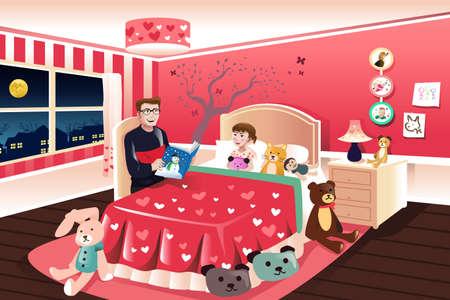 Een vector illustratie van de vader van het lezen van een verhaaltje voor het slapengaan aan zijn dochter Stock Illustratie