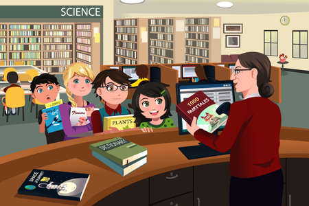 cartoon school girl: A vector illustration of kids waiting in line checking out books from the library