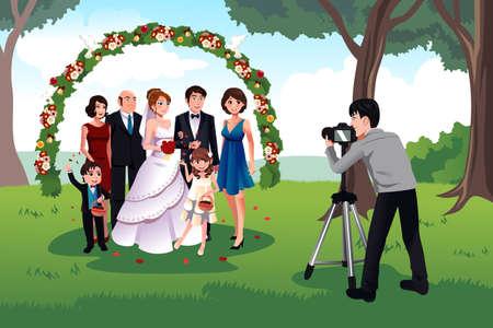Uma ilustração do vetor do homem fotografando uma família em um casamento