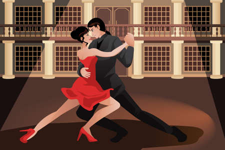 A vector illustration of young couple dancing tango Ilustração