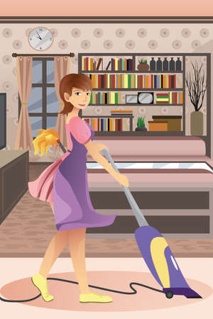 A vector illustration of happy woman vacuuming carpet in the living room