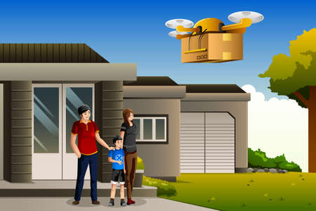 modern house: A vector illustration of family expecting a drone package delivery