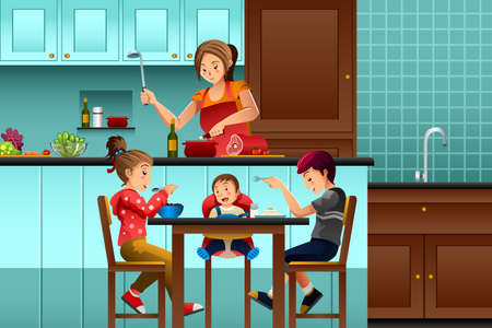A vector illustration of busy mother in the kitchen with her kids