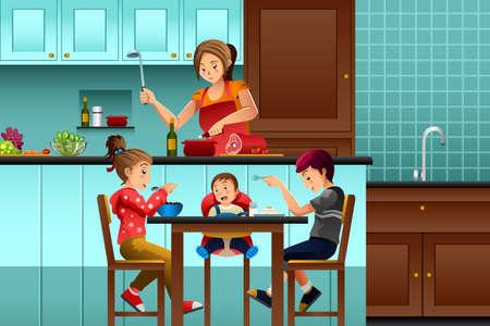 niños desayunando: Una ilustración vectorial de la madre ocupada en la cocina con sus hijos Vectores