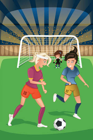 women playing soccer: A vector illustration of women playing soccer in a match Illustration