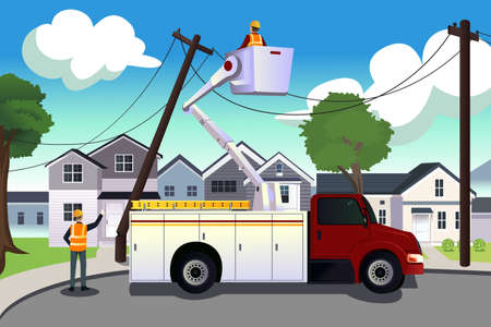 dangerous work: A vector illustration of worker fixing broken power lines Illustration
