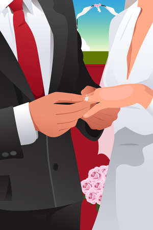 propose: A vector illustration of man putting wedding ring on woman hand