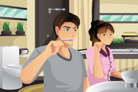 A vector illustration of couple brushing their teeth together in a bathroom Vector
