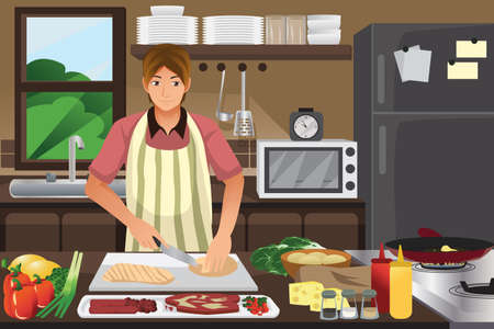 A vector illustration of man cooking in the kitchen