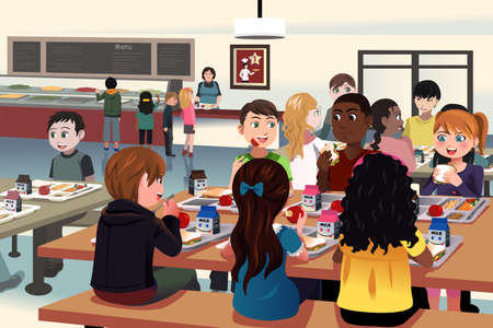 A vector illustration of kids eating at the school cafeteria