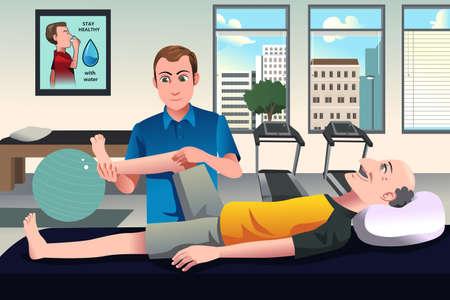 fisioterapia: Una ilustración vectorial de fisioterapeuta examinar la pierna del anciano en el hospital