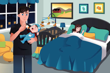 A vector illustration of father holding a newborn baby
