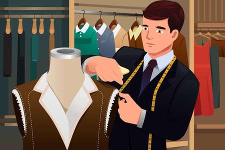 dressmaker: A vector illustration of tailor adjusting clothes on a mannequin