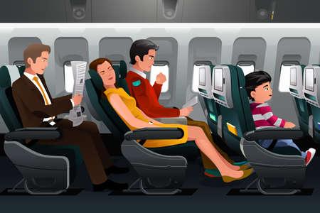 niños sentados: Una ilustración vectorial de los pasajeros de avión Vectores