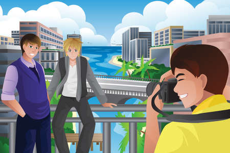 taking picture: A vector illustration of man taking picture of his friends