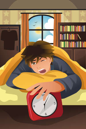 A vector illustration of sleeping man turning off alarm