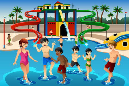 A vector illustration of happy kids playing in a waterpark Illustration
