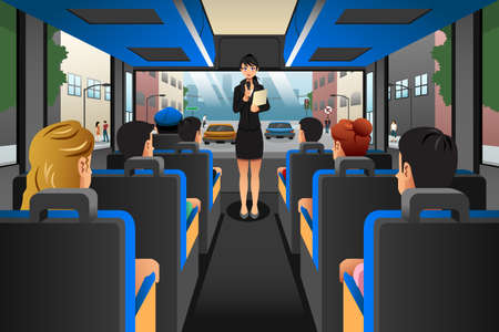 A vector illustration of Tour guide talking to tourists in a tour bus Vectores