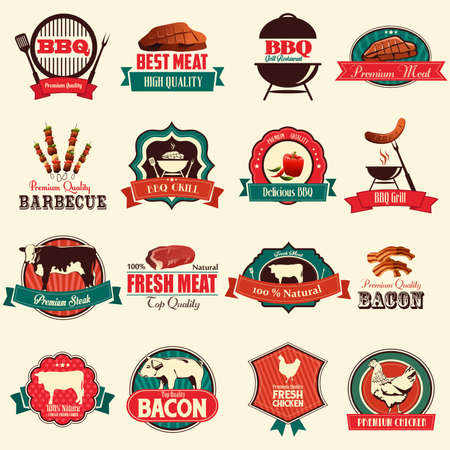 A vector illustration of barbecue icon sets