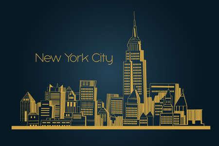 dessin au trait: Une illustration de vecteur d'New York fond Illustration