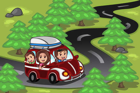 family holiday: A vector illustration of happy family on a road trip
