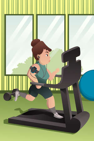 A vector illustration of overweight person running on a treadmill in a gym