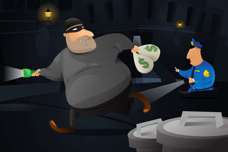 enforcement: A vector illustration of policeman catching a robber in a dark alley