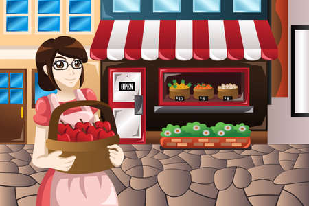 owner: A vector illustration of female store owner standing in front of her store carrying a basket of apples Illustration