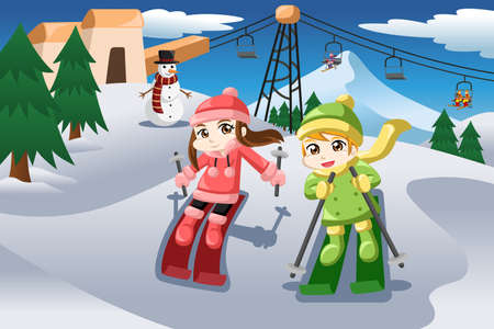 A vector illustration of happy kids skiing together