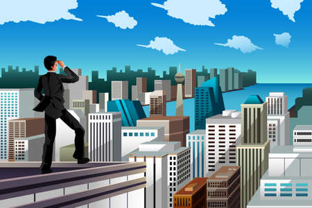 rooftop: A vector illustration of businessman standing on the rooftop of a skyscraper for business concept
