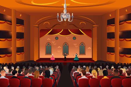 teatro: Una ilustraci�n vectorial de espectadores dentro de un teatro Vectores