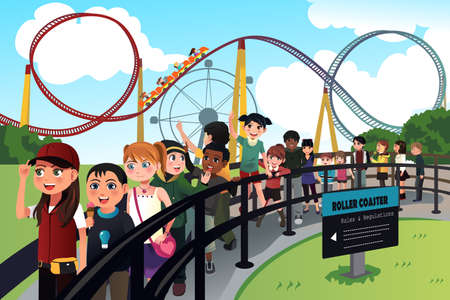 A vector illustration of excited children waiting in line for a roller coaster ride