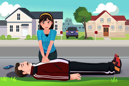 A vector illustration of teenager giving a CPR to a middle aged man on the street