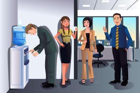 Una ilustración vectorial de la gente de negocios charlando cerca de una fuente de agua en la oficina
