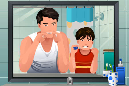 teaching adult: A vector illustration of father teaching his son how to floss in the bathroom