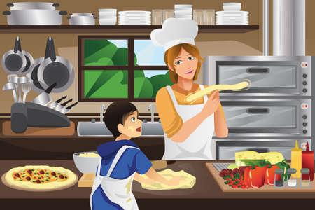 Een vector illustratie van moeder en zoon de voorbereiding van pizza deeg samen in de keuken