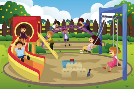 A vector illustration of children playing in the playground Ilustração