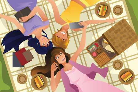 woman lying down: A vector illustration of happy teenage girls taking selfie while lying down Illustration