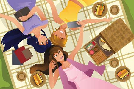 woman lying down: Una ilustraci�n vectorial de adolescentes felices que toman Autofoto mientras se est� acostado