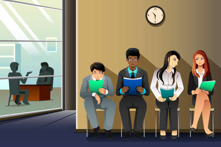 A vector illustration of business people waiting for their turn to be interviewed