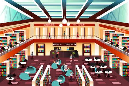 Een illustratie van de binnenkant van de moderne bibliotheek Stock Illustratie