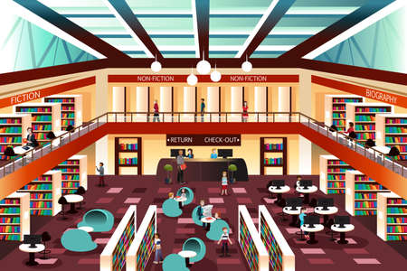 biblioteca: Una ilustración del interior de la moderna biblioteca Vectores