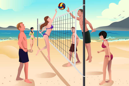 A illustration of happy young people playing beach volleyball