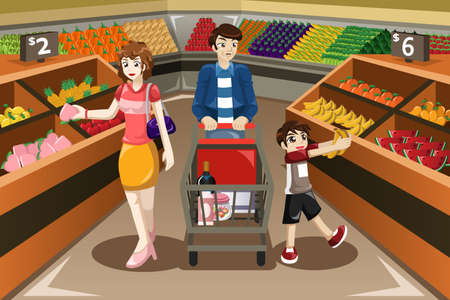 A illustration of happy family shopping fruits in a supermarket