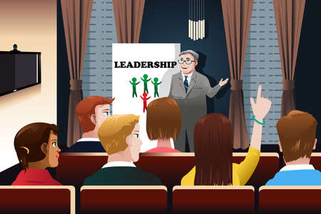 A illustration of business people in a seminar for leadership concept